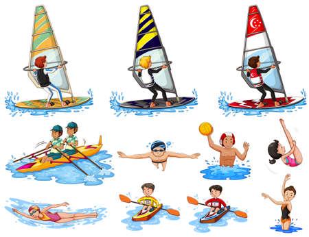 waterpolo: Conjunto de la ilustración deportes acuáticos Vectores