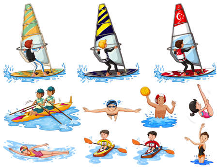 water sports: Set of water sports illustration Illustration
