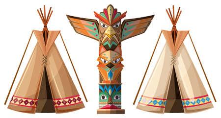 teepee: Set of teepees and totem pole illustration
