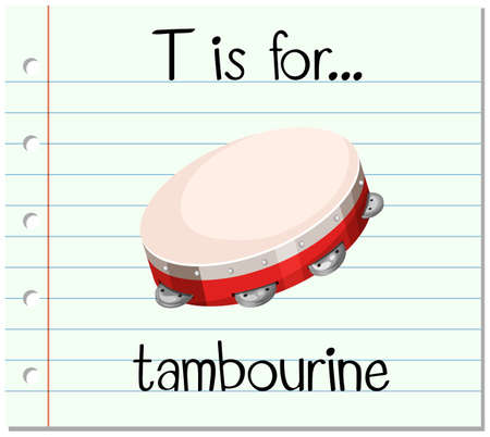 tambourine: Flashcard letter T is for tambourine illustration