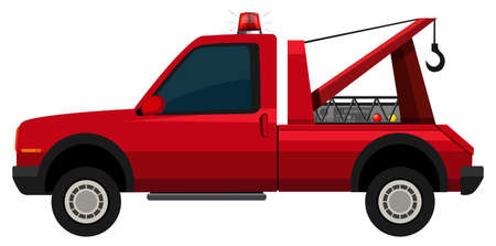 tow: Tow truck in red color illustration Illustration