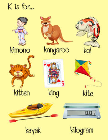 flashcard letter k is for kite illustration royalty free cliparts