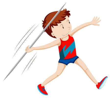 javelin: Man athlete doing javelin illustration Illustration