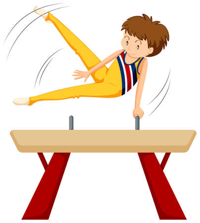 Man doing gymnastics on balance beam illustration