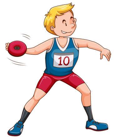 lanzamiento de disco: Hombre atleta lanzando ilustración de disco Vectores