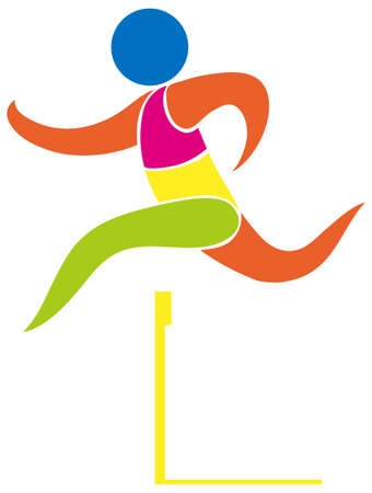 art activity: Hurdles running icon in colors illustration