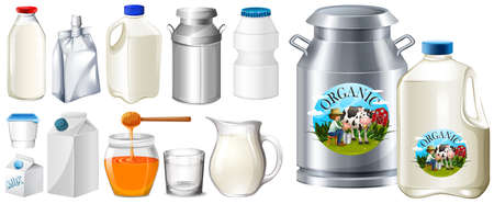 envase de leche: Conjunto de la ilustración contianers para producto lácteo