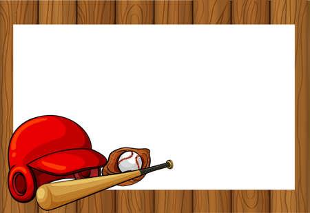 Frame design with baseball equipments illustration
