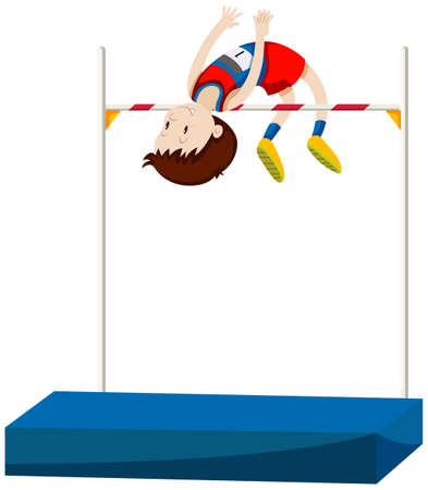 high jump: Man athlete doing high jump illustration Illustration