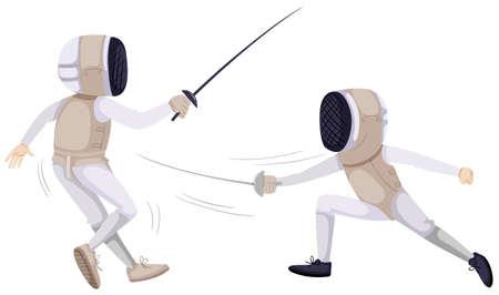 Deux personnes qui font l'escrime illustration Vecteurs