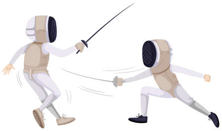 Two people doing fencing illustration Imagens - 59361945