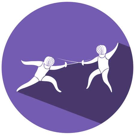esgrima: icono de esgrima en la ilustración redonda de placas