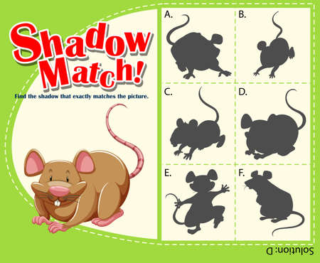 matching: Game template with matching rat illustration Illustration