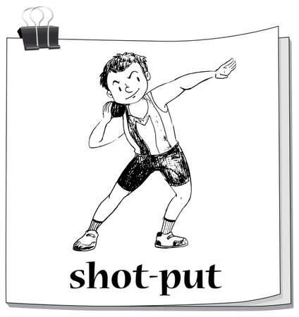 shot put: Shot put sport on paper illustration