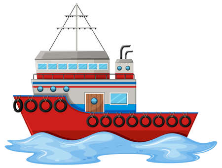 floating in water: Fishing boat floating on water illustration