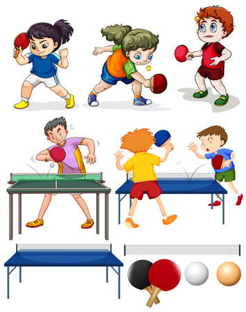 a table: Many people playing table tennis illustration