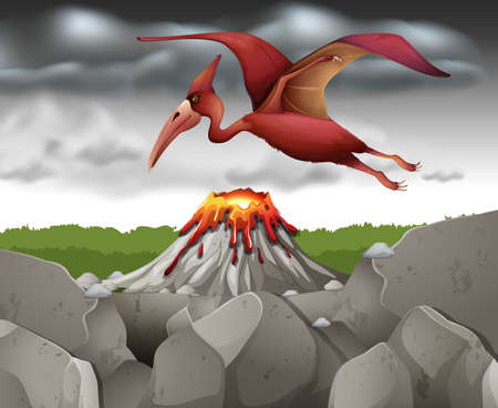 pterodactyl: Pterodactyl dinosaur flying over the volcano illustration Illustration