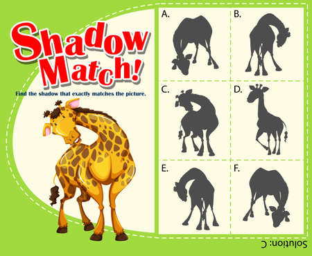 matching: Game template with matching giraffe illustration
