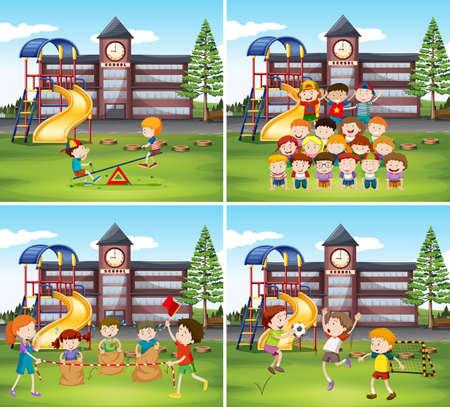 niños jugando en la escuela: Niños jugando en la ilustración de tierra de la escuela