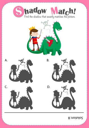 dragones: plantilla de juego con el dragón y la ilustración correspondiente príncipe
