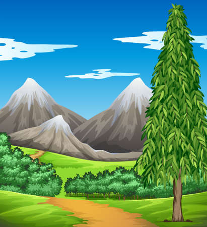 Scene with mountain and field illustration