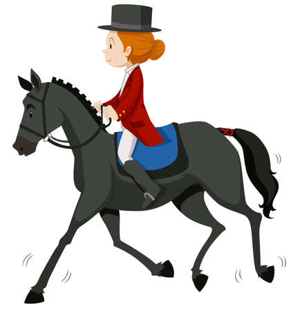 gray horse: Female jockey on gray horse illustration
