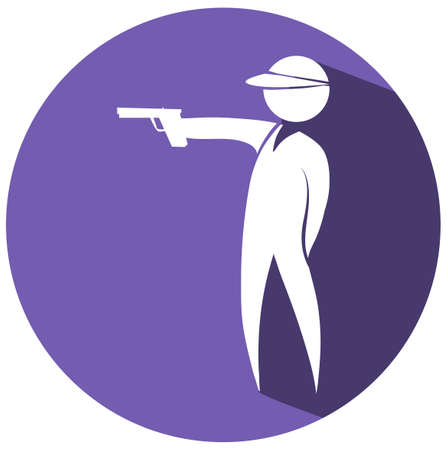 shooting gun: Shooting gun icon on round badge illustration Illustration