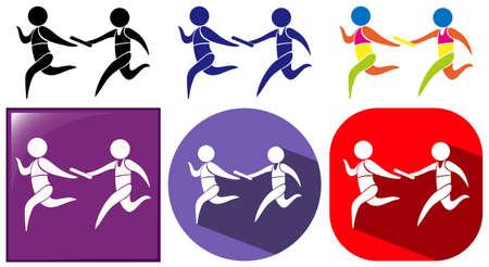 gente corriendo: Retransmitir icono se ejecuta en tres diseños de la ilustración