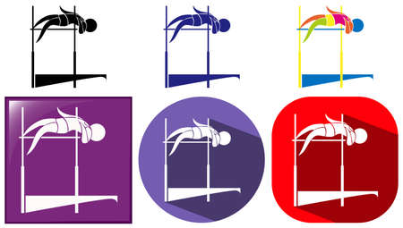 high jump: High jump icon in many designs illustration Illustration