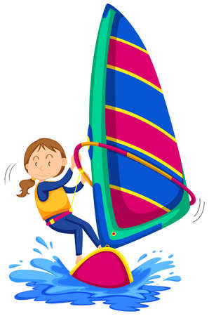 femme dessin: Femme planche à voile dans l'océan illustration Illustration