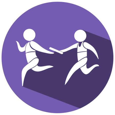 carrera de relevos: Retransmitir icono que se ejecuta en la ilustraci�n redonda de placas Vectores