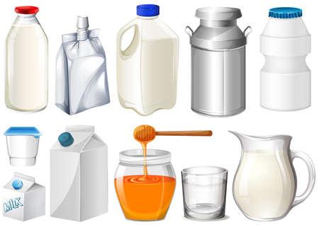 caja de leche: Conjunto de botellas y tarros ilustración