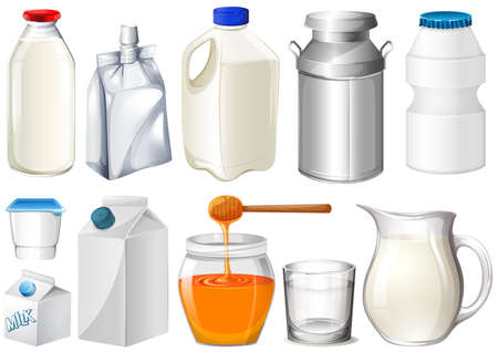 milk jugs: Set of bottles and jars illustration