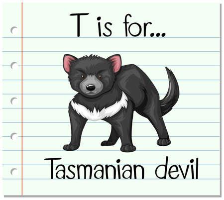 tasmanian: Flashcard letter T is for tasmanian devil illustration Illustration