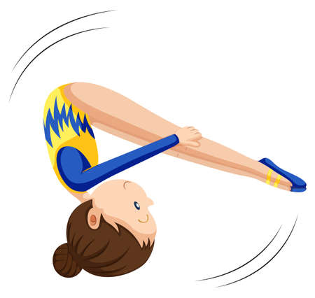 flipping: Woman in gymnastics suit flipping illustration
