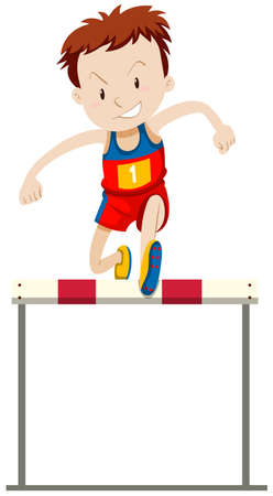 hurdles: Man runner doing hurdles running illustration