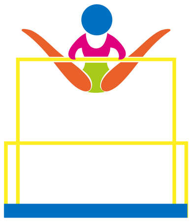 uneven: Gymnastics on uneven bars icon in colors illustration