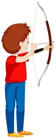 hombre disparando: Hombre disparando con el arco y la flecha ilustración