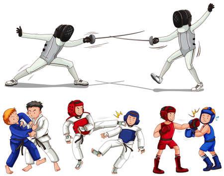 fencing: Different types of martial arts illustration Illustration