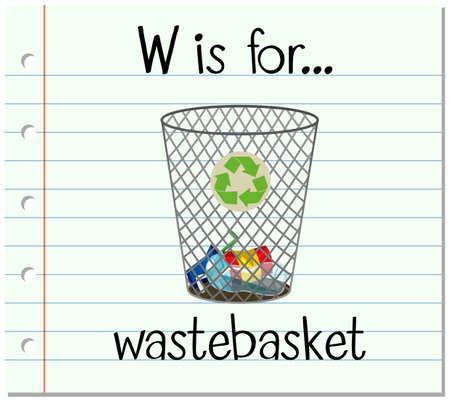 wastebasket: Flashcard letter W is for wastebasket illustration Illustration