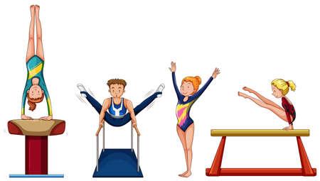 multiple image: People doing gymnastics on different equipment illustration