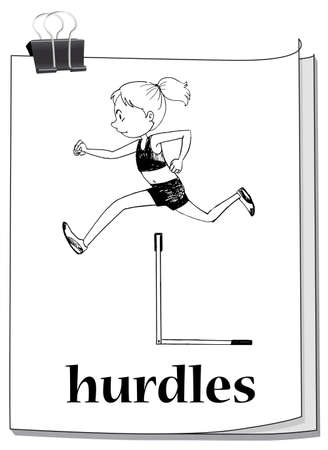 hurdles: Woman athlete doing hurdles run illustration Illustration