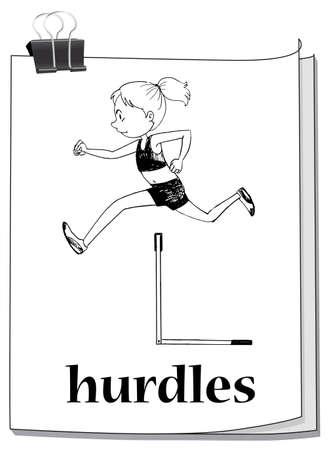 art activity: Woman athlete doing hurdles run illustration Illustration