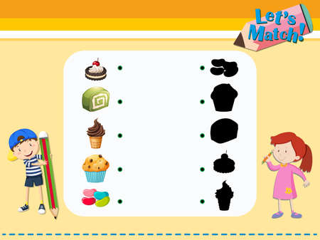 jellybean: Matching game template with desserts illustration