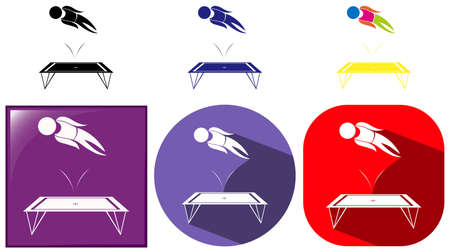 trampoline: Gymnastics with trampoline icons illustration