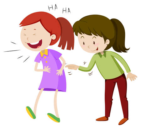 Two happy girls laughing illustration