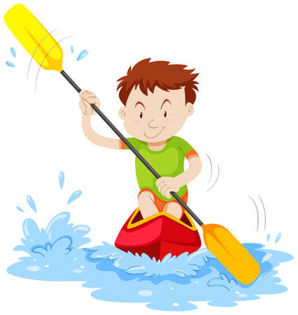 firms: Man kayaking on the river illustration