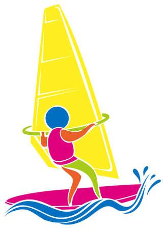 windsurf: icono de windsurf en colores ilustración