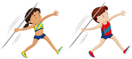 lanzamiento de jabalina: Hombre y mujer los atletas para la ilustración de jabalina Vectores