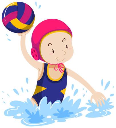 water polo: Mujer que hace el waterpolo en la ilustración de la piscina